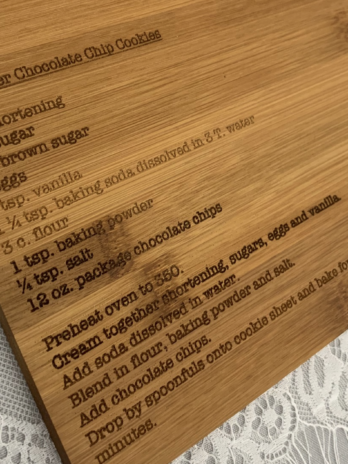 Cutting Board w/ engraved recipe