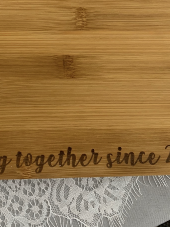 "Cutting Board ""cooking together since 2019"""